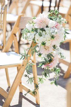 Blush Floral Ceremony Chair Decor | Blueberry Photography | http://heyweddinglady.com/sparkling-rustic-glam-vineyard-wedding/