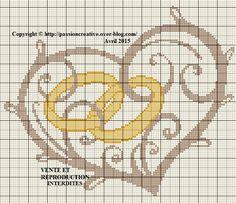 Grille gratuite point de croix : Coeur alliance - Le blog de Isabelle Cross Stitch Bookmarks, Cross Stitch Heart, Simple Cross Stitch, Wedding Cross Stitch Patterns, Cross Stitch Designs, Needlepoint Patterns, Cross Patterns, Cross Stitching, Cross Stitch Embroidery