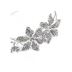 Silver Plated Rhinestone Flowers Headband Tiara Hair Band Party Prom – CAD $ 22.23