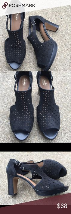 Women's Clarks Artisan Black Heeled Sandals 8.5M Women's Clarks Artisan Black Heeled Sandals 8.5M NWT Awesome for summertime  #6 Clarks Shoes Sandals