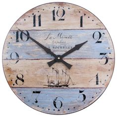 Wall Clock with Driftwood Effect - We have designed this clock, with it's ship motive to have a driftwood appearance. La mouette means 'seagull' in French. Seaside Home Decor, Coastal Decor, Coastal Style, Pallet Clock, Nautical Theme Decor, Kitchen Wall Clocks, Rustic Wall Clocks, Wall Clock Online, Nautical Bathrooms