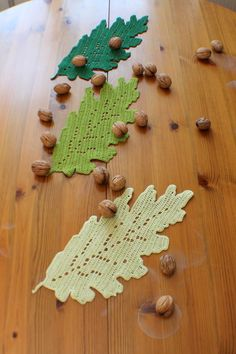 Oak leaf doily crochet leaf placemat leaves table by MadeByElina