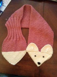 Bufanda Fox ajustable rosa cuello de punto a mano por QuiltNCrochet Lana  Manualidades cbb75837a6b5