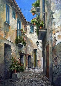 Flowered Alley ~ Francis Mangialardi Notice all the colors and textures. Watercolor Landscape, Landscape Art, Landscape Paintings, Watercolor Paintings, Pictures To Paint, Art Pictures, Urban Sketching, Beautiful Paintings, Art And Architecture