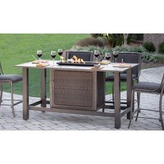Belham Living Mirfield Bar Height Fire Pit Table   Patio Dining Tables At  Hayneedle