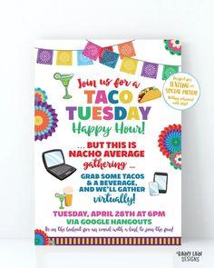 Virtual Taco Tuesday Invitation, Virtual Happy Hour Invitation, Nacho – Rainy Lain Designs Invitation App, Digital Invitations, Party Invitations, Tuesday Happy Hour, Taco Tuesday, Nachos, Printing Services, Online Printing, Happy Party