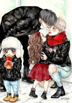 Yoonmin Fanart, Jimin Fanart, Vhope Fanart, Vmin, Jungkook Abs, Familia Anime, Anime Family, Foto Jimin, Bts Drawings