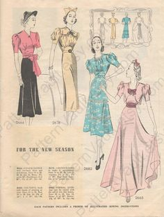 Simplicity Fashion Forecast, February 1938 featuring Simplicity 2666, 2678, 2682 and 2665