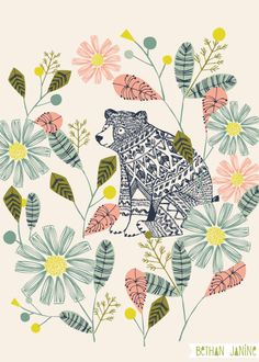 Wheatpaste Art Collective Hiding Bear by Bethan Janine Framed Art Art And Illustration, Woodland Illustration, Flower Illustrations, Nursery Wall Art, Canvas Wall Art, Project Life Karten, Motifs Textiles, Guache, Painting