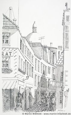 Paris Montmartre - by Martin Missfeldt Barbara Gray, Travel Illustration, Paris Photos, Urban Sketching, Coloring Book Pages, Art Studies, Art Pictures, Fantasy, Doodle Art