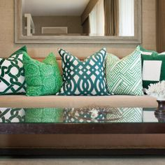 Hash Print Emerald Medium Throw Pillow. #laylagrayce
