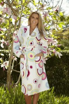 b7bda1696c Baksana Retro Bath Robe Spot Style - 100% Cotton White Velour Terry Shawl  Collar