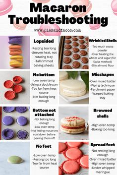 Macaron Troubleshooting Visual Guide #macaron #troubleshooting #frenchmacarons Beaux Desserts, Just Desserts, Delicious Desserts, Dessert Recipes, French Macaroon Recipes, French Macaroons, Macaron Flavors, Macaron Recipe, How To Make Macarons
