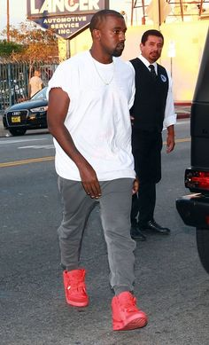 Kanye West in the Nike Air Yeezy 2 Red October