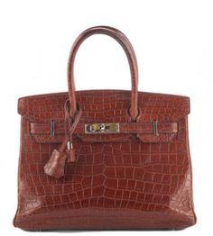 HERMES Honey Miel Matte Crocodile Palladium 30cm Birkin Tote Handbag In Box EVHB