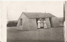 Little Sod House on the Prairie, North Dakota, ca.1910, Antique Real Photo Postcard - Prairie Women