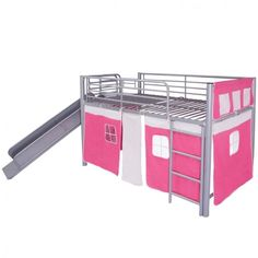 Childrens Loft Bed Steel Grey Slide Ladder Pink Bunk Bedroom Home Furniture Tent #ChildrensLoftBed