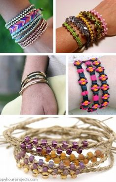 Stackable Bracelets : Tutorials for *30* different bracelets -  wrapped, macrame, string, braided hemp, and more from All Free Jewelry Making.   . . . .   ღTrish W ~ http://www.pinterest.com/trishw/  . . . .  #handmade #jewelry #beading