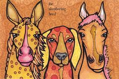 Original Drawing Horses with Dog Mustard and by TheSlumberingHerd, $45.00