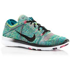 Nike Women's Nike Free Flyknit Sneakers ($130) ❤ liked on Polyvore featuring shoes, sneakers, multi, nike trainers, multi colored sneakers, nike, multi colored shoes ve print shoes