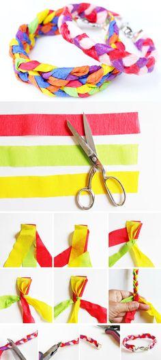 Comment utiliser le papier crépon pour faire des bracelets tressés