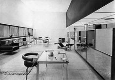 Interior designed by Charlotte Perriand, with pieces by Jeanneret, Le Corbusier and Perriand.