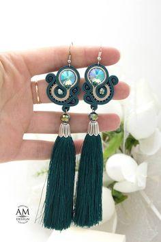 Beaded Tassel Earrings, Soutache Jewelry, Boho Earrings, Statement Earrings, Drop Earrings, Green Earrings, Unique Earrings, Jewelry Gifts, Handmade Jewelry