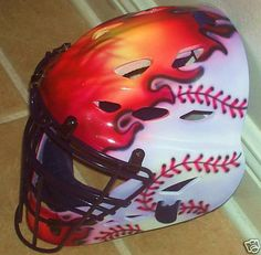 Cowboy Ball Renegade Catchers Helmet Airbrushed by tonysairbrush