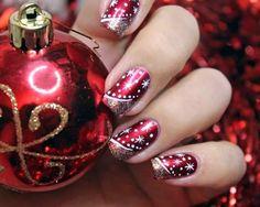 Christmas nail art – red nails with glitter and snowflakes - Nail Art Designs Christmas Nail Art Designs, Holiday Nail Art, Winter Nail Art, Winter Nails, Christmas Design, Summer Nails, Xmas Nails, Red Nails, Hair And Nails