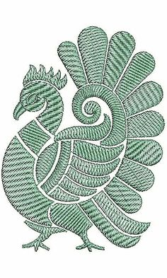 Applique Embroidery Design 18724 Peacock Embroidery Designs, Latest Embroidery Designs, Border Embroidery Designs, Floral Embroidery Patterns, Bird Embroidery, Hand Embroidery Patterns, Embroidery Works, Machine Embroidery, Fabric Painting