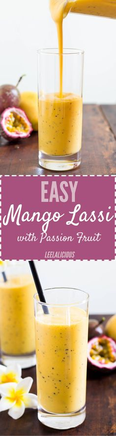 This Easy Mango Lassi Recipe with the addition of passion fruit juice is a perfect way to cool down on hot summer days and also the best refreshing beverage to serve alongside spicy curry dishes.