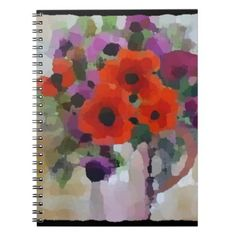 Beautiful Red Poppies Notebook - floral style flower flowers stylish diy personalize