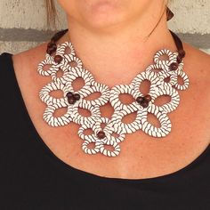 Bib Necklace Flower Necklace Rope Necklace Wood by FabricTwist