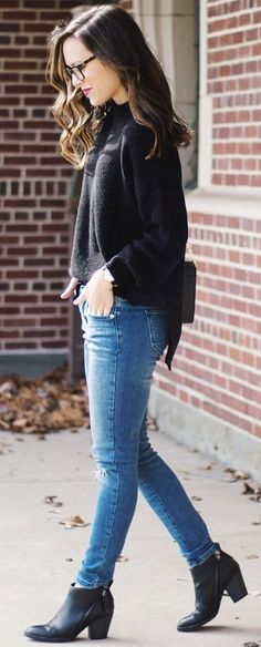 #cute #outfits  Black Knit / Ripped Skinny Jeans / Black Leather Booties