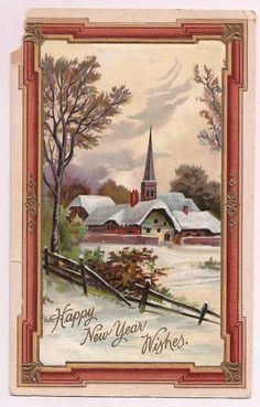 Beautiful antique postcard, country scene with snow covered church, Happy New Year wish, old fashioned rust and gold frame border, found with a