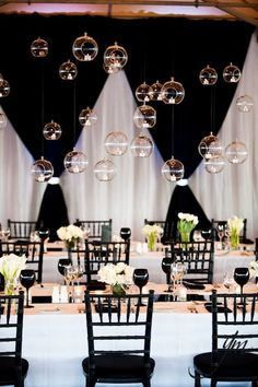 black white wedding ideas / http://www.himisspuff.com/hanging-glass-globes-wedding-decor-ideas/3/