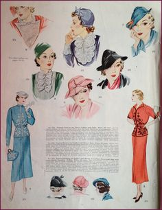 1930s jabots and hats | McCall 371, 374 and 375