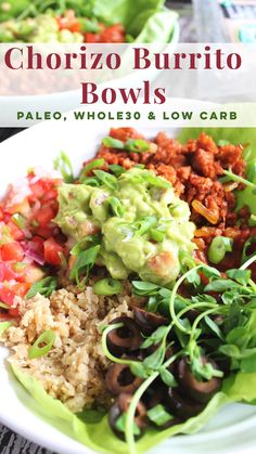Chorizo burrito bowls are the perfect meal prep recipe for Paleo, Low Carb or just eating healthy! Made with cauliflower rice, and fun flavors, these burrito bowls are always a favorite. Lunch Recipes, Baby Food Recipes, Paleo Recipes, Dinner Recipes, Freezer Recipes, Freezer Cooking, Drink Recipes, Crockpot Recipes, Cooking Tips