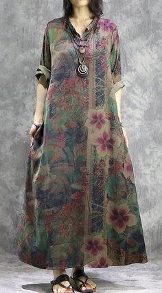 DIY asymmetric silk outfit plus size Photography green prints Kaftan Dresses summer