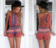 Buy New 2015 Jumpsuit Women Sexy Sleeveless Boho Backless Beach Playsuits Summer Jumpsuits Rompers Macacao Ropa Mujer Red at Cute - Beauty Shopping Backless Jumpsuit, Backless Mini Dress, Jumpsuit Shorts, Short Jumpsuit, Black Jumpsuit, Black Pants, Overalls, Festival Mode, Festival Fashion