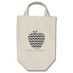 Navy Chevron & Coral Teacher Apple Tote Bags from The Pink Schoolhouse