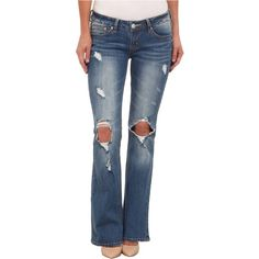 UNIONBAY Irina Flare Denim Jean in Glacier (Glacier) Women's Jeans ($24) ❤ liked on Polyvore featuring jeans, blue, flare jeans, destroyed jeans, low rise jeans, zipper jeans and distressed jeans