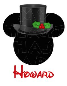 Printable DIY Top hat Christmas Mickey Mouse digital clip art, iron on transfer for t-shirts by My Heart Has Ears