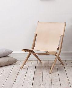 Mogens Lassen; Oak and Leather 'Saxe' Folding Chair, 1955.