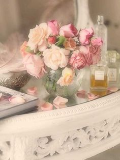 Boudoir:  Dressing-table accessories and #perfumes.