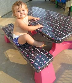 Caroline's Crafty Corner: Spray paint kids plastic table, cover with fabric and vinyl!!