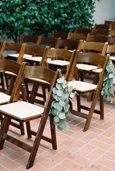 Eucalyptus aisle decor wrap bouquet by San Diego Florist tiny victories photo by matoli keely wedding aisle Church Wedding Flowers, Wedding Pews, Wedding Isles, Wedding Chairs, Wedding Night, Summer Wedding, Wedding Greenery, Bridal Flowers, Garden Wedding