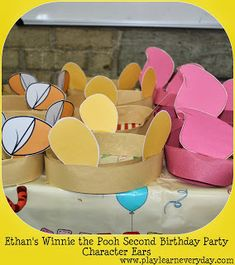 Ethan's Winnie the Pooh Second Birthday Party Play & Learn Everyday: Ethan's Winnie the Pooh Second Birthday Party – character ears / hats Winnie The Pooh Games, Winne The Pooh, Winnie The Pooh Birthday, Baby Boy 1st Birthday, Bear Birthday, First Birthday Parties, Birthday Ideas, Pooh Bebe, Otoño Baby Shower