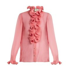Gucci Ruffle-trimmed sheer silk-georgette blouse (5.725 RON) ❤ liked on Polyvore featuring tops, blouses, pink, pink sheer blouse, red long sleeve blouse, pleated blouse, transparent blouse and pink blouse