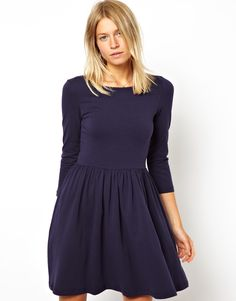 Skater Dress With Slash Neck And 3/4 Sleeves
